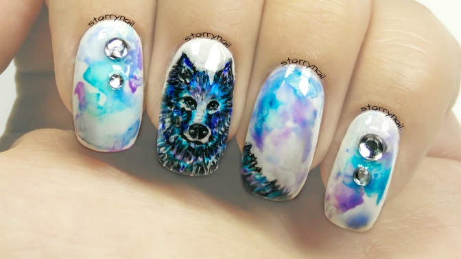 Blue Wolf [Freehand Nail Art]