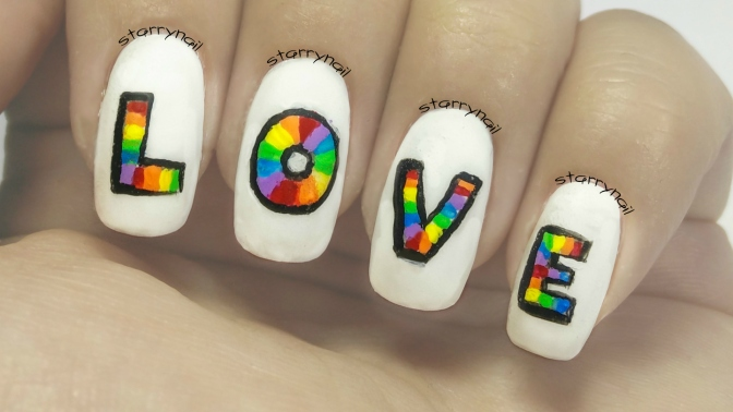 Rainbow Love [Freehand Nail Art]