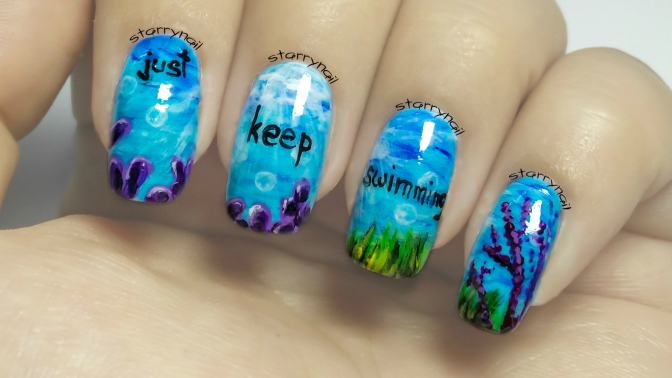 Just keep swimming [Freehand Nail Art]