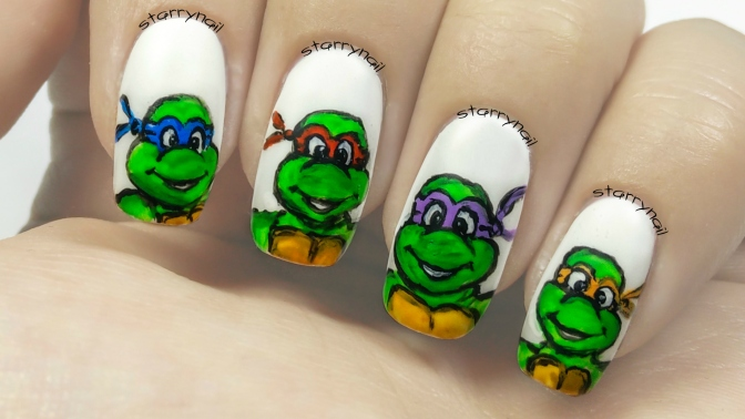 Ninja Turtles [Freehand Nail Art]
