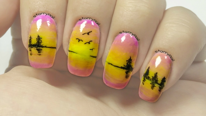 Easy Sunset Nails [Freehand Nail Art]