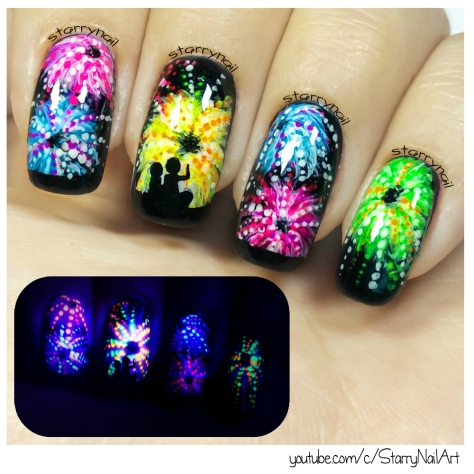 Fireworks [glow in the dark freehand nail art]