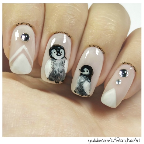 Baby Penguins [Freehand Nail Art]