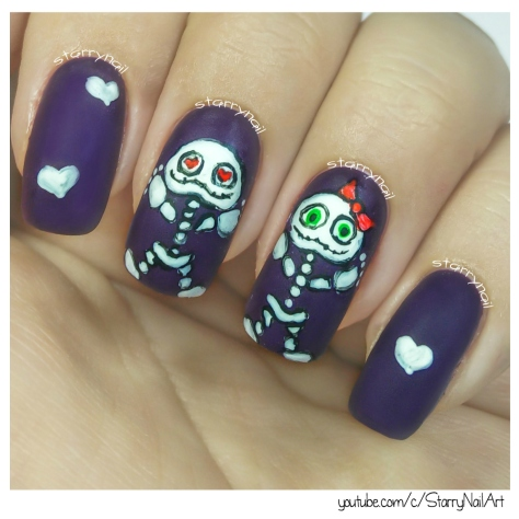 Cute Skeletons [Freehand Nail Art]