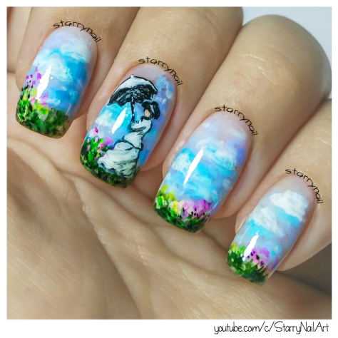 Monet - Woman with a Parasol [Freehand Nail Art]