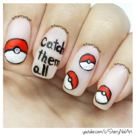 Pokémon Nails - Poké Balls [Freehand Nail Art]