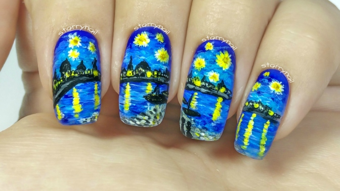 Vincent van Gogh – Starry Night Over the Rhone [Freehand Nail Art]