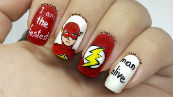 The Flash [Freehand Nail Art]