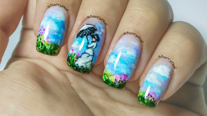 Monet – Woman with a Parasol [Freehand Nail Art]