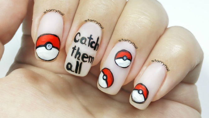Pokémon Nails – Poké Balls [Freehand Nail Art]