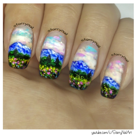 Impressionist landscape [Freehand Nail Art]