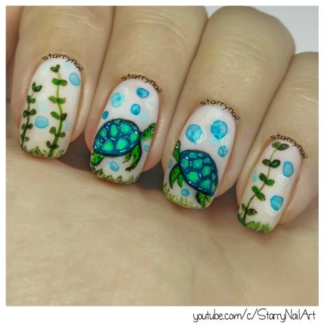 Turtles [Freehand Nail Art]