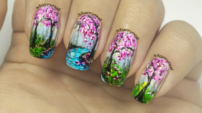 Cherry Trees [Freehand Nail Art]