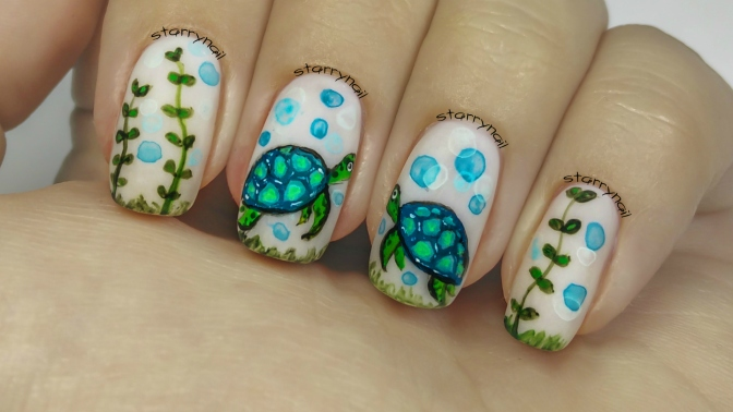 Turtles [Freehand Nail Art]
