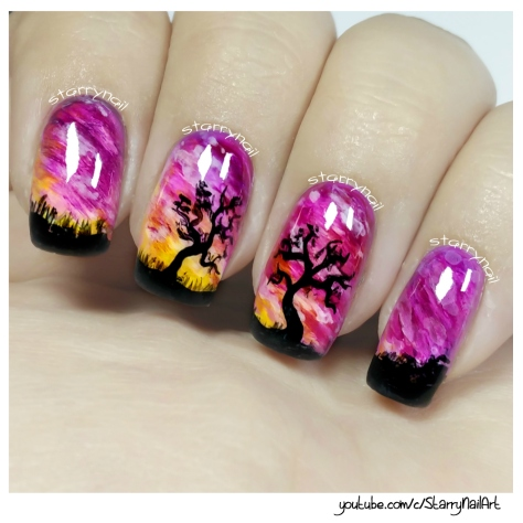 Purple Sunset & Trees [Freehand Nail Art]