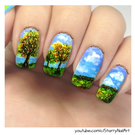 Autumn Landscape [Freehand Nail Art]