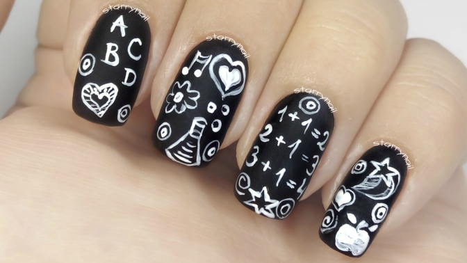 Chalkboard Nails [Freehand Nail Art]