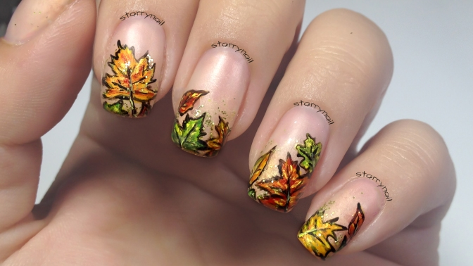 Autumn Leaves [Freehand Nail Art]