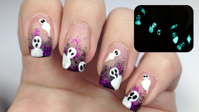 Glow in the dark ghosts [Freehand Nail Art]