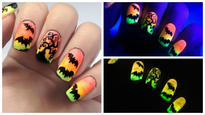 Easy Neon Halloween Nails [Freehand Nail Art]