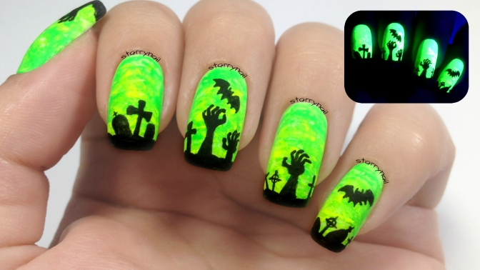 Zombie Hands [Freehand Nail Art]