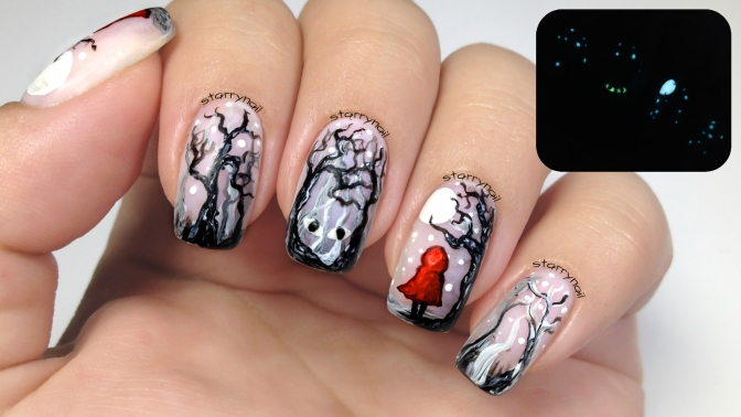 Little Red Riding Hood [Freehand Nail Art]
