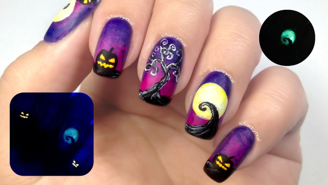 Halloween Landscape [Freehand Nail Art]
